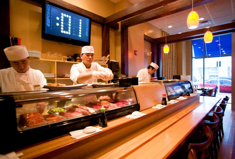 12/27/07 Boston, MA -- The sushi bar at Yoki, a new sushi restaurant in Medford,  MA Thursday December 27, 2007.  Erik Jacobs for the Boston Globe