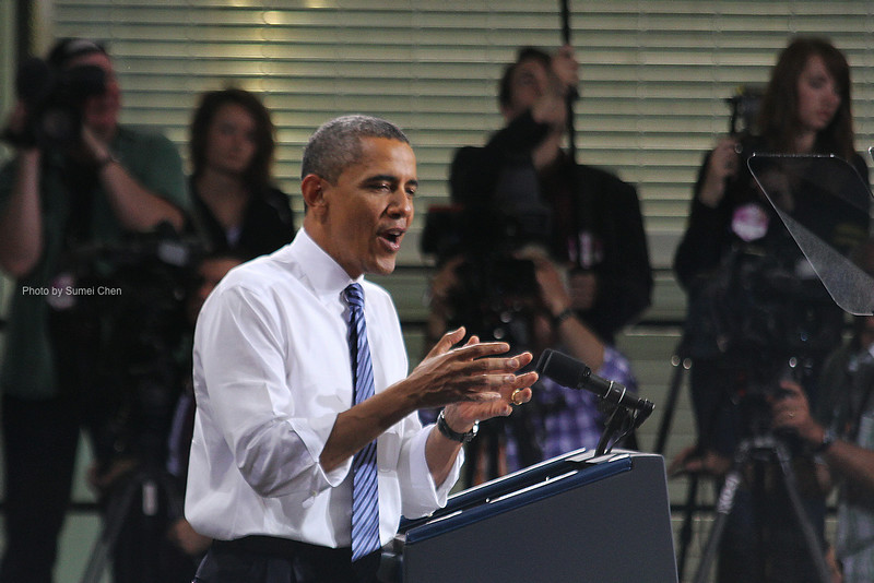 President Obama speaks at the Field House on April 25, 2012 in Iowa City, IA. (Photo by Sumei Chen)