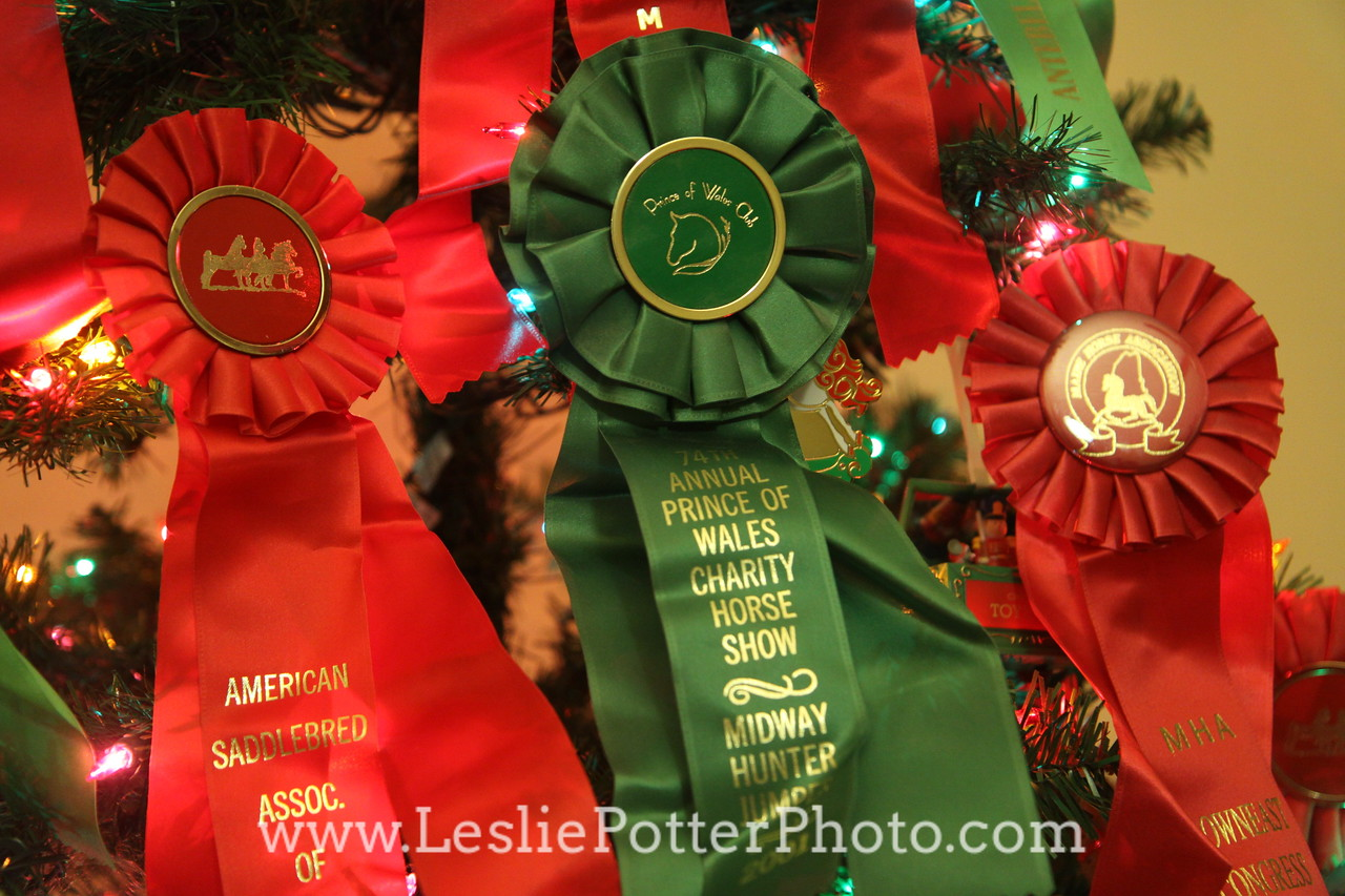 Christmas Tree Decorated with Red and Green Horse Show Ribbons