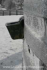 Horse Fence and Grain Feeder Encased in Ice