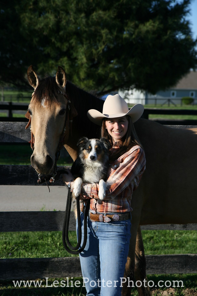 Buckskin American Quarter Horse and Mini Australian Shepherd  with Cowgirl