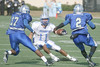 Friendswood #11 Andrew Cole ooks to avoid the Westbury defence of #17 Ja'Coby Zuber #2 Khalum Brewer.