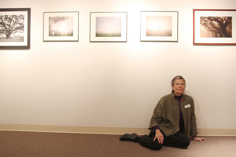 Debra Kendrick, curator, poses for a photo at The Arts Alliance Center at Clear Lake 2011 Winter Juried Exhibition. Photo by Pin Lim.
