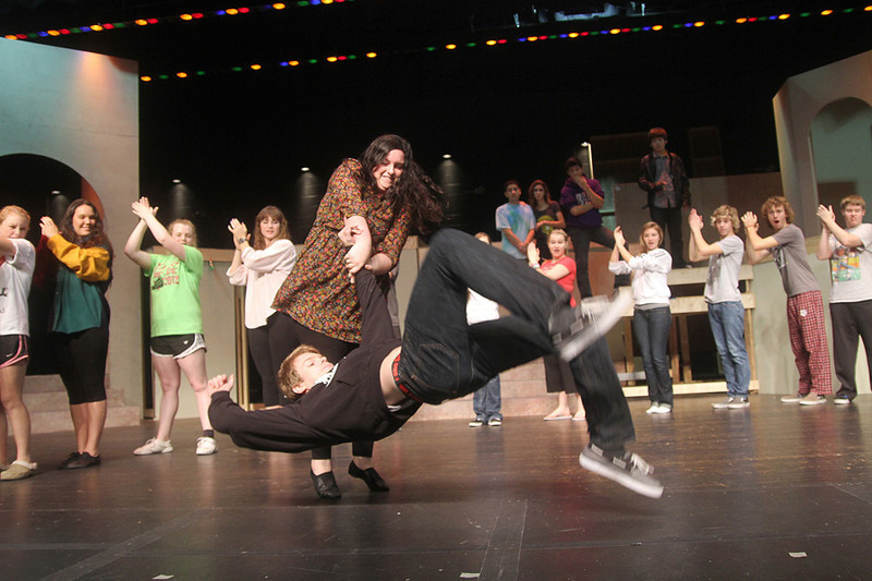 "Clear Falls High School School Theater students rehearsing ""Once Upon a Mattress""."