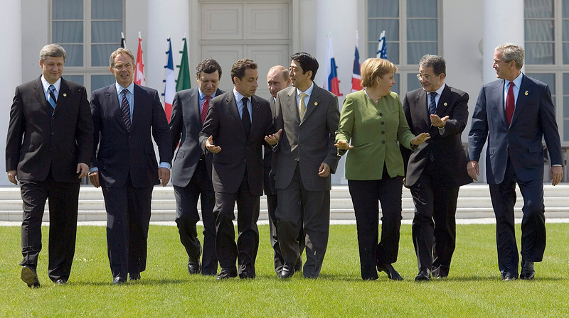 Heads of state walk together for a family photo at the G8 Summit in Heiligendamm, Germany Thursday June 7, 2007. From left are Canadian Prime Minister Stephen Harper, British Prime Minister Tony Blair, European Commission President Juan Manuel Barroso, French President Nicolas Sarkozy, Russian President Vladimir Putin, Japanese Prime Minister Shinzo Abe, German Chancellor Angela Merkel, Italian Prime Minister Romano Prodi, and U.S. President George W. Bush. (CP PHOTO/Fred Charftrand) Canada