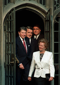 The Economic Summit leaders (from left) Ronald Reagan (US), Brian Mulroney (Canada) and Helmut Kohl (Germany) follow Margaret Thatcher (Britain), into a courtyard at Hart House in Toronto, June 20, 1988.  The leaders were joining others for a photo session before dinner. (CP PHOTO/Fred Chartrand)
