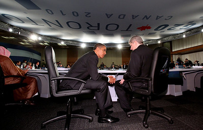 United States President Barack Obama and Canadian Prime Minister Stephen Harper chat before the start of opening session at the G-20 in Toronto on Sunday June 27, 2010. G-8/G-20 Host Photo/Fred Chartrand          ~ ~ ~ ~        Le président des États-Unis d'Amérique Barack Obama discute avec le premier ministre du Canada Stephen Harper à la session d'ouverture du G-20 à Toronto, le dimanche 27 juin, 2010. Hôtes Photos G-8 G-20/Fred Chartrand