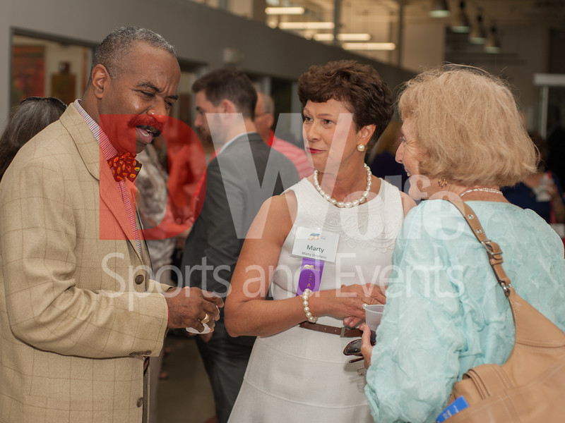 On the left  is the Literacy Council of Montgomey County Treasurer Ira Holmes, next to Marty Stephens, Executive Director as they speak with a valued supporter of the Literacy Council.