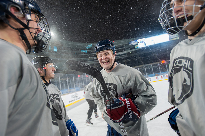 The first hockey game ever at Soldier Field, Chicago, felt like a small town event. Chicago Outdoor Hockey League (COHL) played their All-Star game on the field in a temporary rink built to host several well advertised events.  Photo by Megan Bearder NYTimes, Feb, 2013