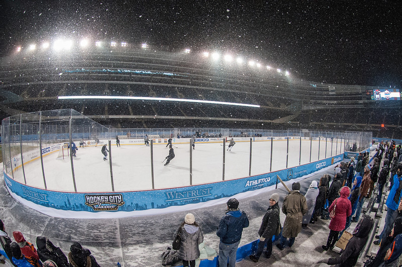 The first hockey game ever at Soldier Field, Chicago, felt like a small town event. Chicago Outdoor Hockey League (COHL) played their All-Star game on the field in a temporary rink built to host several well advertised events.f COHL which is open to all abilities ages 21 and over.  Photo by Megan Bearder