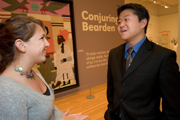 Duke Students Ashley Arlow (l) and Hao Feng (r) discuss the Bearden exhibit at the Nasher.