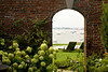 8/7/08 Newport, RI -- A view looking out from the courtyard to Newport Harbor at 145 Harrison Avenue in New Port, RI a $10 Million property. August 7, 2008.  Erik Jacobs for the New York Times <br /> 30066306A