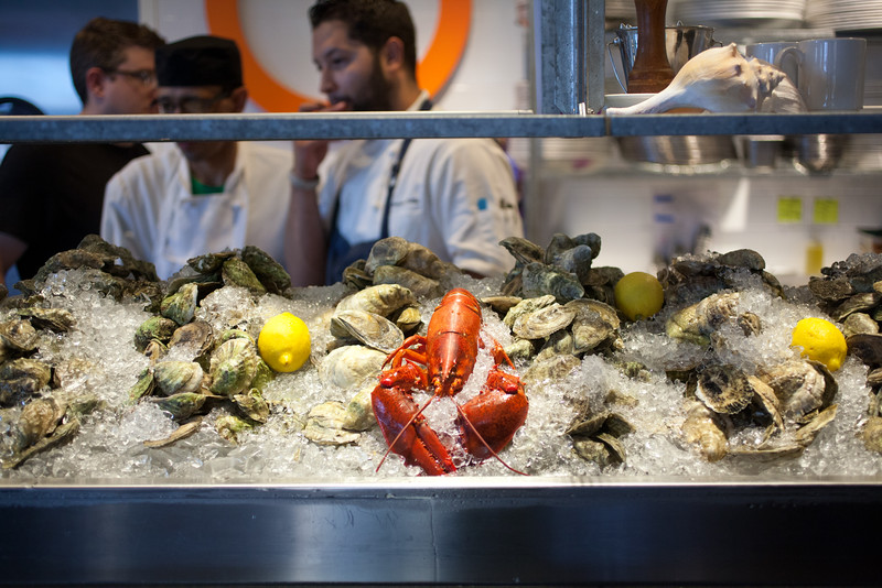 8/25/15 Boston, Mass. -- Lobsters and oysters on display at Row 34 in Boston, Mass. August 24, 2015. Erik Jacobs for the New York Times