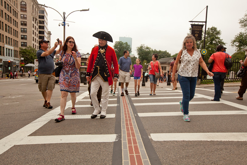 8/25/15 Boston, Mass. -- Historian Michael Szkolka, dressed as a soldier in the First Regiment of the Foot Guards leads a walking tour along the freedom trail in Boston, Mass. August 24, 2015. Erik Jacobs for the New York Times