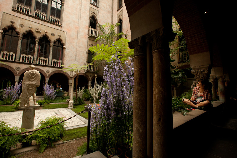 8/25/15 Boston, Mass. -- Yea Hyung Shin a student at the Rhode Island School of Design sketches the courtyard in the Isabella Stewart Gardner Museum in Boston, Mass. August 24, 2015. Erik Jacobs for the New York Times