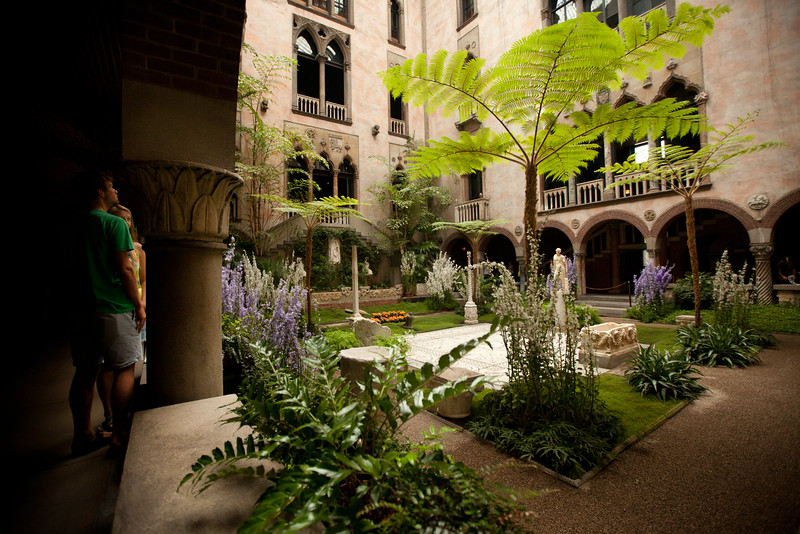 8/25/15 Boston, Mass. -- Patrons look out at the courtyard in the Isabella Stewart Gardner Museum in Boston, Mass. August 24, 2015. Erik Jacobs for the New York Times