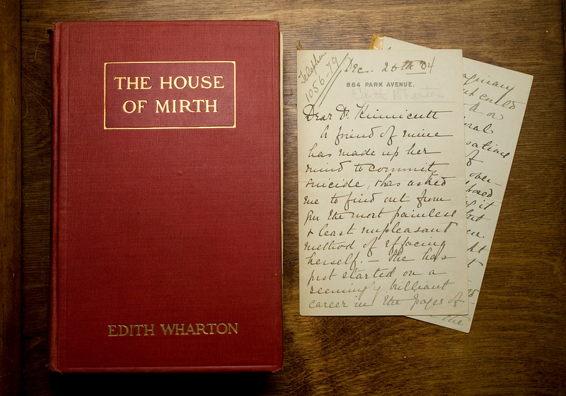 "11/16/07 Dedham, MA -- A letter found in a first editon copy of Edith Wharton's ""House of Mirth"" whichclarifies the mystery surrounding the death of the book's heroine, Lily.  November 16, 2007.  Erik Jacobs for the New York Times<br /> <br /> 30052657B"