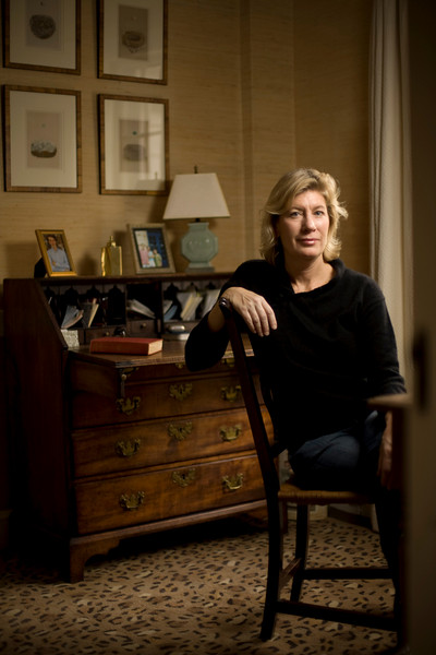 """11/16/07 Dedham, MA -- Portrait of Amy Beckwith at her home in Dedham, MA.  Beckwith was given a copy of Edith Wharton's """"House of Mirth"""" which contained a letter that clarifies the mystery surrounding the death of the book's heroine, Lily.  November 16, 2007.  Erik Jacobs for the New York Times<br /> <br /> 30052657B"""