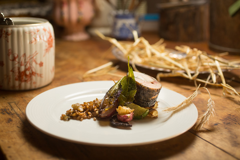 12/28/16 Concord, Mass. -- Pastured chicken in rye ash with rye grass, rye berries, root cellar vegetables and pickles at Bondir in Concord, Mass. December 28, 2016. Erik Jacobs for the New York Times