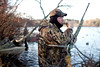11/7/09 Rochester, MA -- Paul Hunt uses a duck call on a hunt in Snipatuit Pond in Rochester, MA November 7, 2009.  Hunt was using a Beretta Xtrema2.  Erik Jacobs for the New York Times <br /> 30088017A