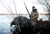 11/7/09 Rochester, MA -- Paul Hunt waits for ducks on a hunt in Snipatuit Pond in Rochester, MA November 7, 2009.  Hunt was using a Beretta Xtrema2.  Erik Jacobs for the New York Times <br /> 30088017A