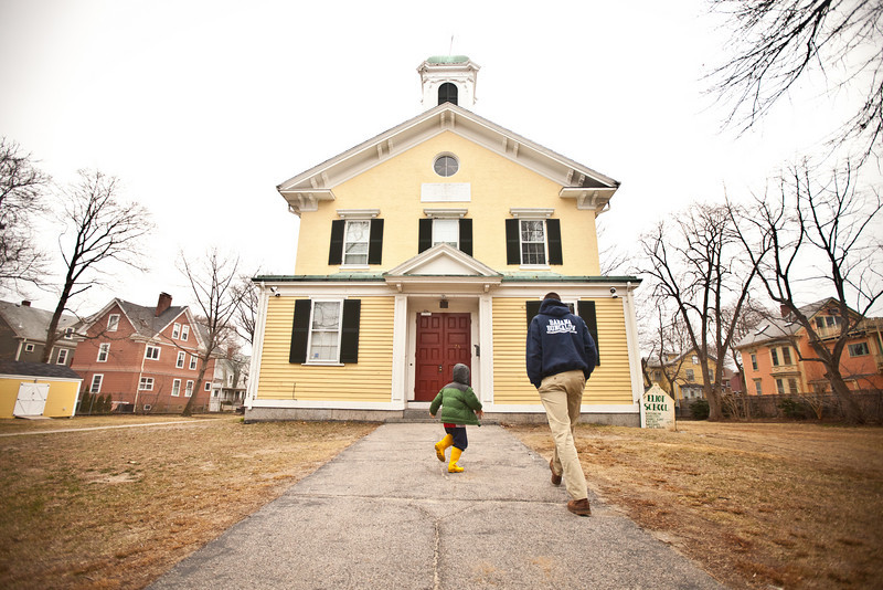 3/23/11 Jamaica Plain, MA -- Brian Simmons takes his brother John Langerman, 6, to The Eliot School of Fine & Applied Arts for the Very Beginning Woodworking class March 23, 2011.  Erik Jacobs for the New York Times