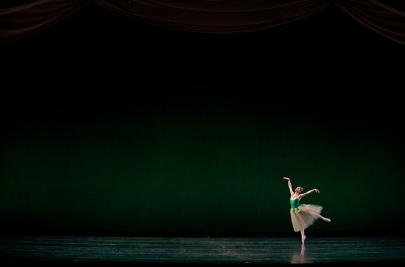 "2/5/09 Boston, MA -- A member of the Boston Ballet perform Emeralds, the first act of Balanchine's ""Jewels"" February 25, 2009 at the Wang Theatre in Boston, MA.  Erik Jacobs for the New York Times <br /> 30077221A"
