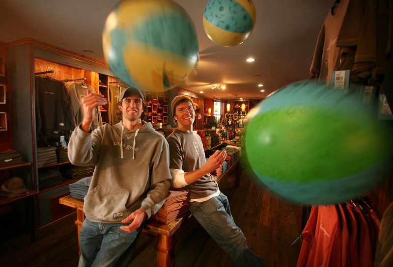 """10/30/07 Boston, MA -- Portrait of (from left) Bert and John Jacobs at their """"Life is Good"""" apparel store in Boston, MA, 2007.  Erik Jacobs for the New York Times<br /> <br /> 30051457A"""