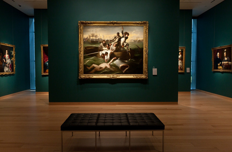 "11/15/10 Boston, MA -- ""Watson and the Shark"" by John Singleton Copley in the Norma and Roger Alfred Saunders Gallery at the new Art of the Americas wing at the Museum of Fine Arts in Boston, Mass. Nov. 15, 2010.  Erik Jacobs for the New York Times"