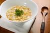 2/13/08 Boston, MA -- Clam Chowder with tempura bits, potato, kurobuta pork fat drizzle and cracklin's at o ya restaurant in Boston, MA February 13, 2008.  Erik Jacobs for the New York Times <br /> 30057096A
