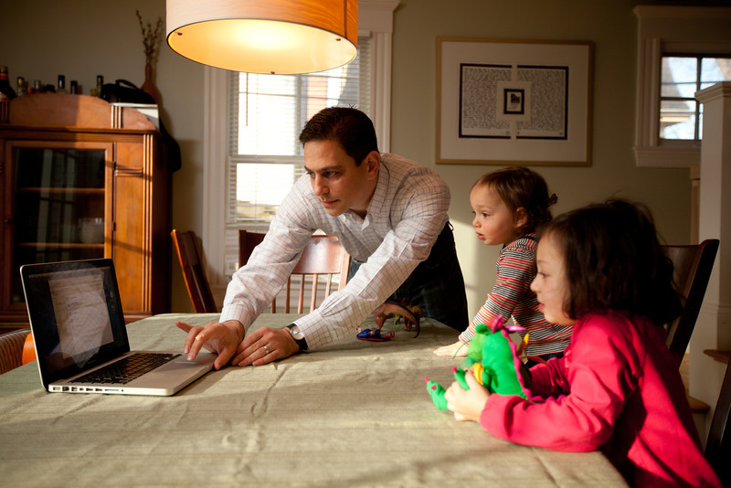 12/18/11 Cambridge, Mass. -- In Cambridge, Mass. Jeremy Rothman-Shore helps his children Ayelet Rothman-Shore, 3, and her brother Rafael, 17 months, Skype with their grandparents Robert and Deborah Rothman in Rochester, NY December 18, 2011.  Erik Jacobs for the New York Times