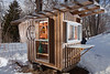 "2/16/11, Stoughton Mass. -- The ""Gypsy Junker"", one of Derek Diedricksen's homemade structures at his home in Stoughton, Mass. February 16, 2011.  Erik Jacobs for the New York Times"