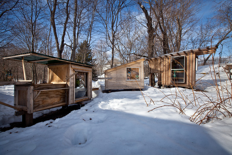 2/16/11, Stoughton Mass. -- A collection of Derek Diedricksen's homemade structures at his home in Stoughton, Mass. February 16, 2011.  Erik Jacobs for the New York Times