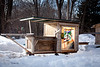"2/16/11, Stoughton Mass. -- The ""Boxy Lady,"" a single sleeper and mobile vending kiosk, is one of Derek Diedricksen's homemade structures at his home in Stoughton, Mass. February 16, 2011.  Erik Jacobs for the New York Times"