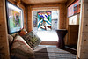 "2/16/11, Stoughton Mass. -- Details of the inside of the ""Boxy Lady,"" a single sleeper and mobile vending kiosk, is one of Derek Diedricksen's homemade structures at his home in Stoughton, Mass. February 16, 2011.  Erik Jacobs for the New York Times"