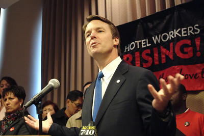 Democratic Presidential candidate Senator John Edwards speaks before an audience at a Hotel Workers strike in San Francisco.