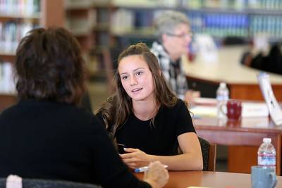 Whitney High School senior Rachel Zufelt participates in a mock job interview conduced by Molly Anderson. Web-only story and photos in Comstock's: https://www.comstocksmag.com/web-only/mock-interviews-high-school-lead-post-graduation-success-whitney-high-alum