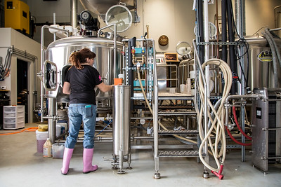 Teresa Psuty, Co-Owner and Brewer at Crooked Lane Brewing Co. in Auburn, photographed for the May 2017 edition of Comstock's magazine