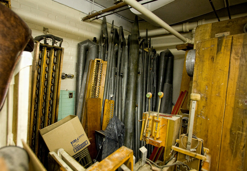 5/2/09 Medford, MA -- Organ parts including assorted pipes stored in the basement of the Chevalier Theatre in Medford, Mass. May 2, 2009.  Erik Jacobs for the Dayton Daily News