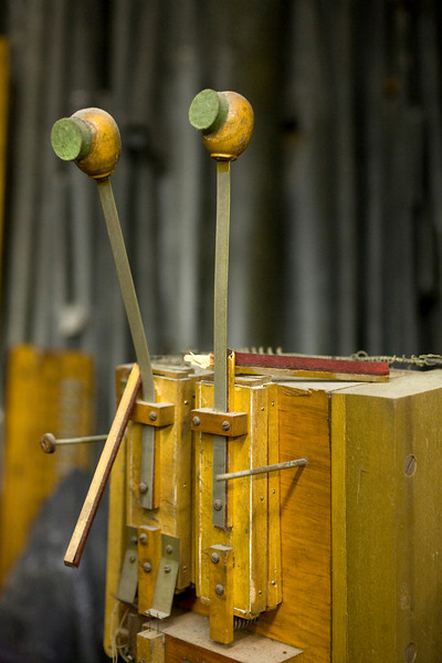 5/2/09 Medford, MA -- Broken cymbal mallets waiting to be repaired in storage at the Chevalier Theatre in Medford, Mass. May 2, 2009.  Erik Jacobs for the Dayton Daily News