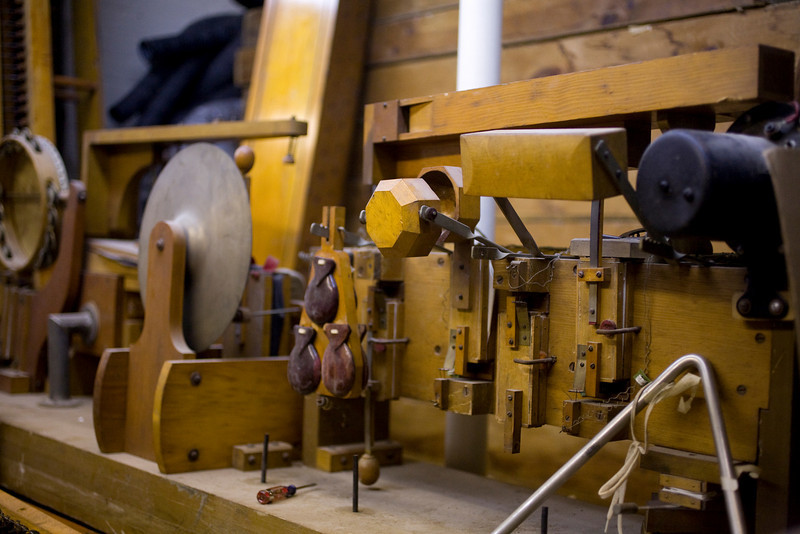 """5/2/09 Medford, MA -- The """"Toy Counter"""", which including instruments such as a train whistle, steam whistle, triangle, wood block, castanets, and a door bell in storage at the Chevalier Theatre in Medford, Mass. May 2, 2009.  Erik Jacobs for the Dayton Daily News"""
