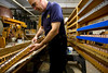 5/2/09 Medford, MA -- Dick Pelland, a volunteer with the Chevalier Theatre Organ Society and foreman of repairs punches works to repair a Wurlitzer theatre organ at the Chevalier Theatre in Medford, Mass. May 2, 2009.  Erik Jacobs for the Dayton Daily News