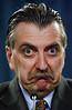 Transport Minister Tony Valeri grimaces as he holds a news conference in Ottawa, Thursday January 15, 2004. Valeri is challenging Sheila Copps for the Liberal nomination in the new riding of Hamilton East-Stoney Creek created under redistribution. It combines a chunk of his old riding with Copps's former constituency of Hamilton East. (CP PHOTO/Fred Chartrand)