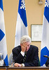 Bloc Quebecois  Leader Gilles Duceppe reacts as he begins a meeting with his caucus, on Parliament Hill in Ottawa, Monday,  May 14, 2007. Duceppe had announced last week he was leaving the Bloc to run for leadership of the Parti Quebecois but changed his mind on the weekend.(CP PHOTO/Fred Chartrand) CANADA