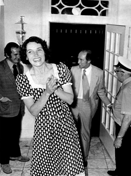 HiRes--Almost beside herself with happiness at the federal election victory of her husband and his Liberal party, Margaret Trudeau bounces into their official residence at 24 Sussex Drive in Ottawa July 9, 1974where she greeted the household staff. She and the Prime Minister had jhust returned from election-night headquarters at the Chateau Laurier and the acknowledgement of a return to a majority government with 140 of the 264 House of Commons seats after 18 months of minority government. (CP PHOTO/Fred Chartrand)