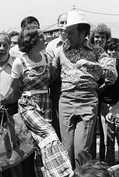 Prime Minister Piere Trudeau and his wife dance at a noon political picnic on Center Island as their last public appearance of the federal election campaign July 7, 1974. Both seemed happy and relieved that the six week campaign was nearing its end. (CP PHOTO/ Fred Chartrand)