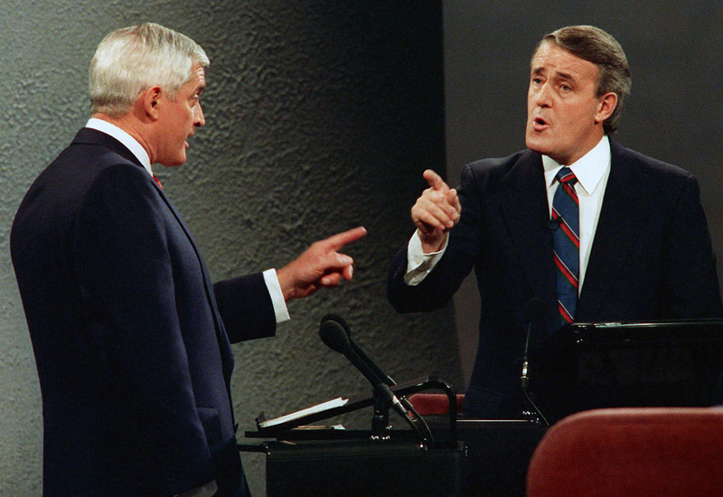 Liberal leader John Turner and Conservative leader Brian Mulroney point fingers at each other during a debate from the 1988 federal election campaign. (CPARCIVE PHOTO/Fred Chartrand)