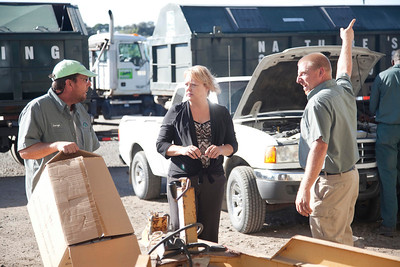 (left to right) george staats, Bridgett Lundberg, teddy bammann discussing how to wrap up the day.