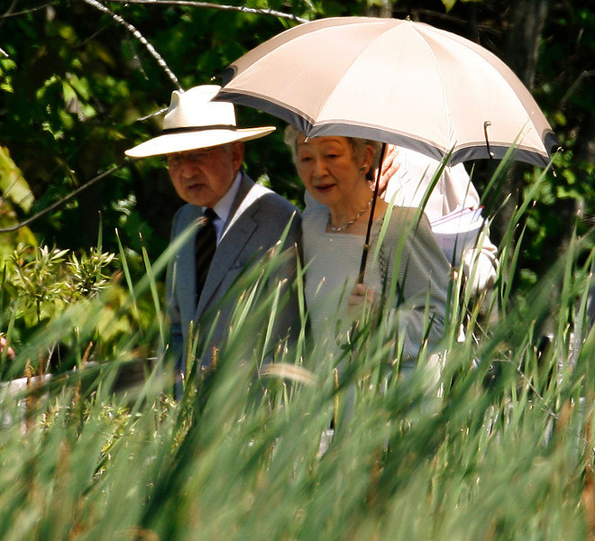 Japanese Emperor Akihito (left) and Empress Michiko are guided through the Mer Bleue Bog ecosystem, just on the outskirts of Ottawa, Sunday June 5, 2009.Fred Chartrand