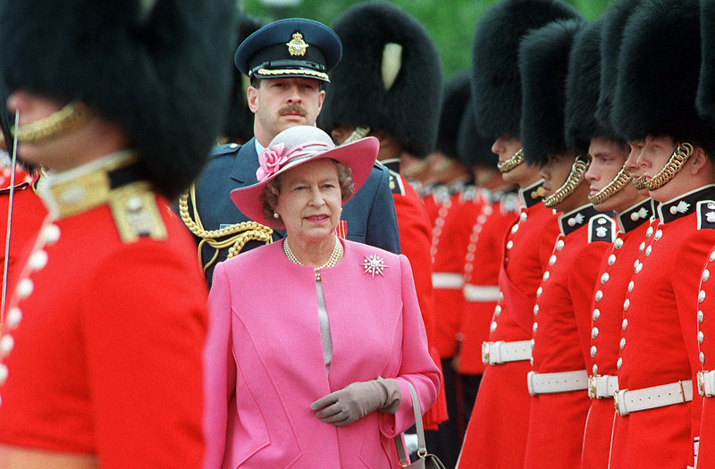 Queen Elizabeth II inspects the Cremonial Guard on Parliament Hill, during Canada Day celebrations, July 1, 1992. (CP PHOTO/ Fred Chartrand)